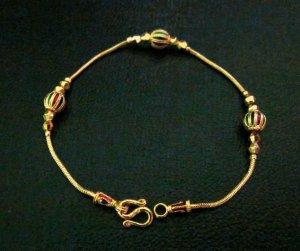 """7""""lovely enamel bead 24K gold filled bracelet bangle 115"""