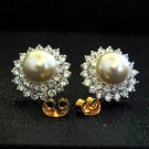 Synthetic white pearl 24K gold filled cz earrings 04