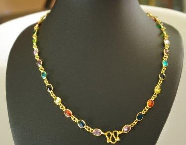 """26"""" nine color cz 18K gold plated necklace 05"""