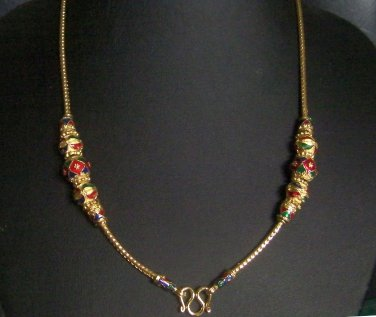 """25.2"""" enamel ball 18K gold plated necklace 06"""