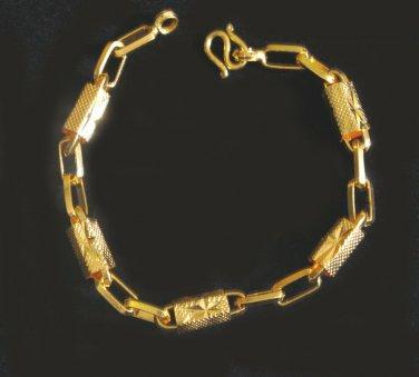"""7.7""""chain&bead 24K gold filled bracelet bangle 73"""