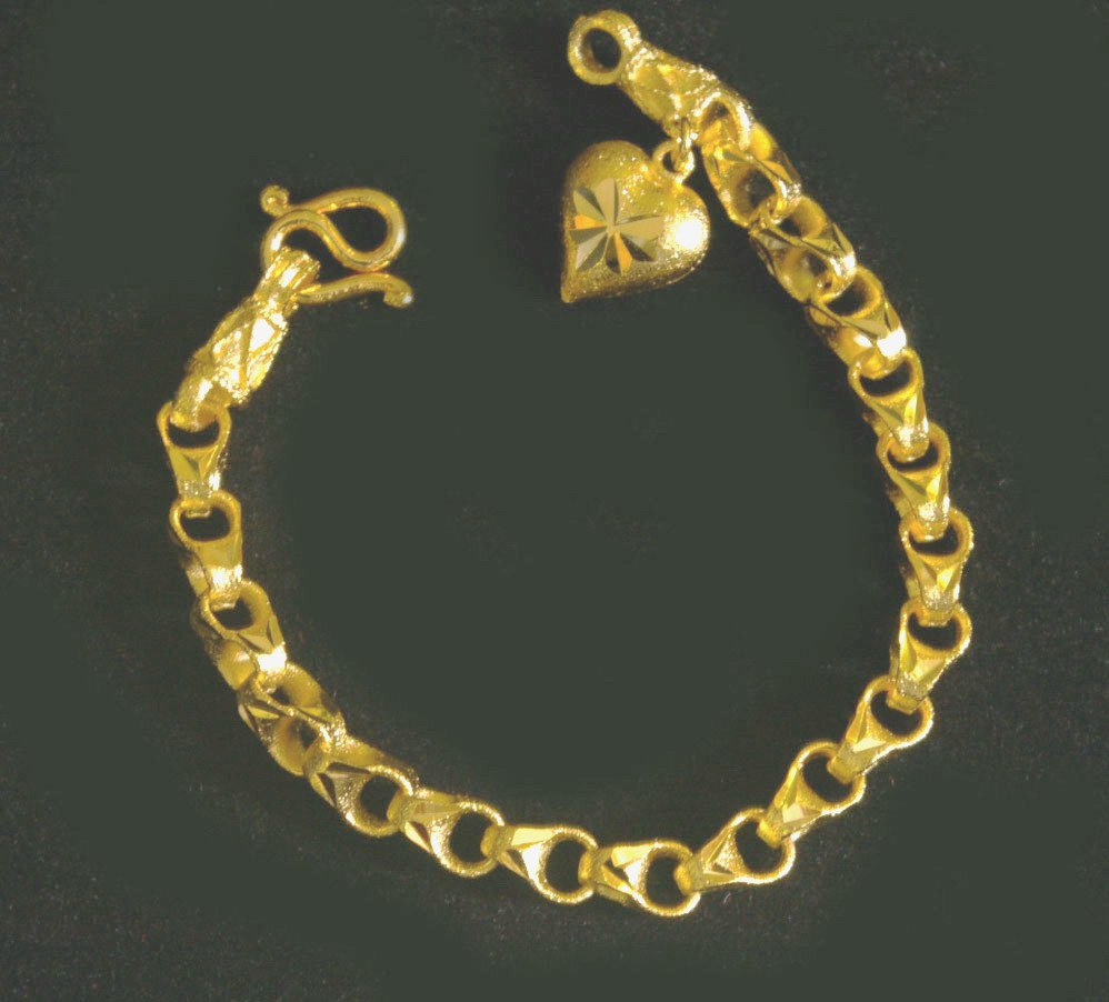 "6.5"" chain heart 24K gold filled bracelet bangle 98"