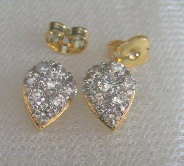 Droplet nice cz 24K gold filled earrings 025