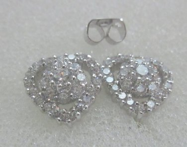 beautiful heart cz 24K white gold filled earrings 37