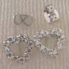lovely cz heart 24K white  gold filled earrings 021