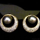 Synthetic black pearl 24K gold filled cz earrings 07