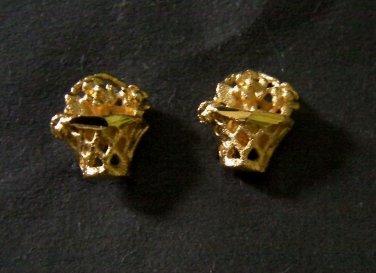 very lovely mini basket 24K gold filled earrings 1 micron