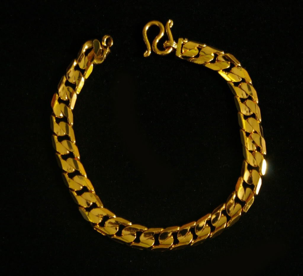 "shinny chain 7.2"" 24K gold filled bracelet 53"