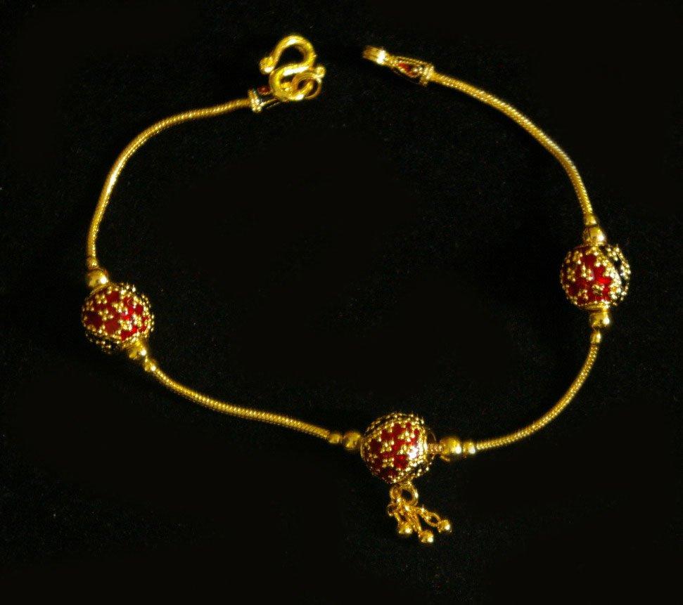 7 Inch nice thai style enamel ball 24K gold filled bracelet 52
