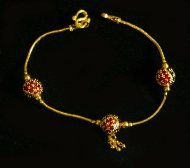 7 Inch nice thai style enamel ball 24K gold filled bracelet 52