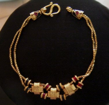 6.9 Inch nice thai style enamel rod 100% 24K gold filled bracelet 123