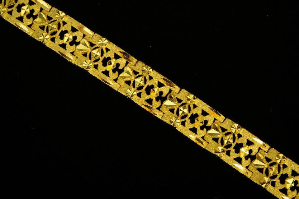 7.4 Inch nice sand fret 24K gold filled bracelet 32