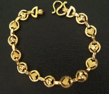 7.3 Inch sand and shinny heart unique pattern 24K gold filled bracelet 120