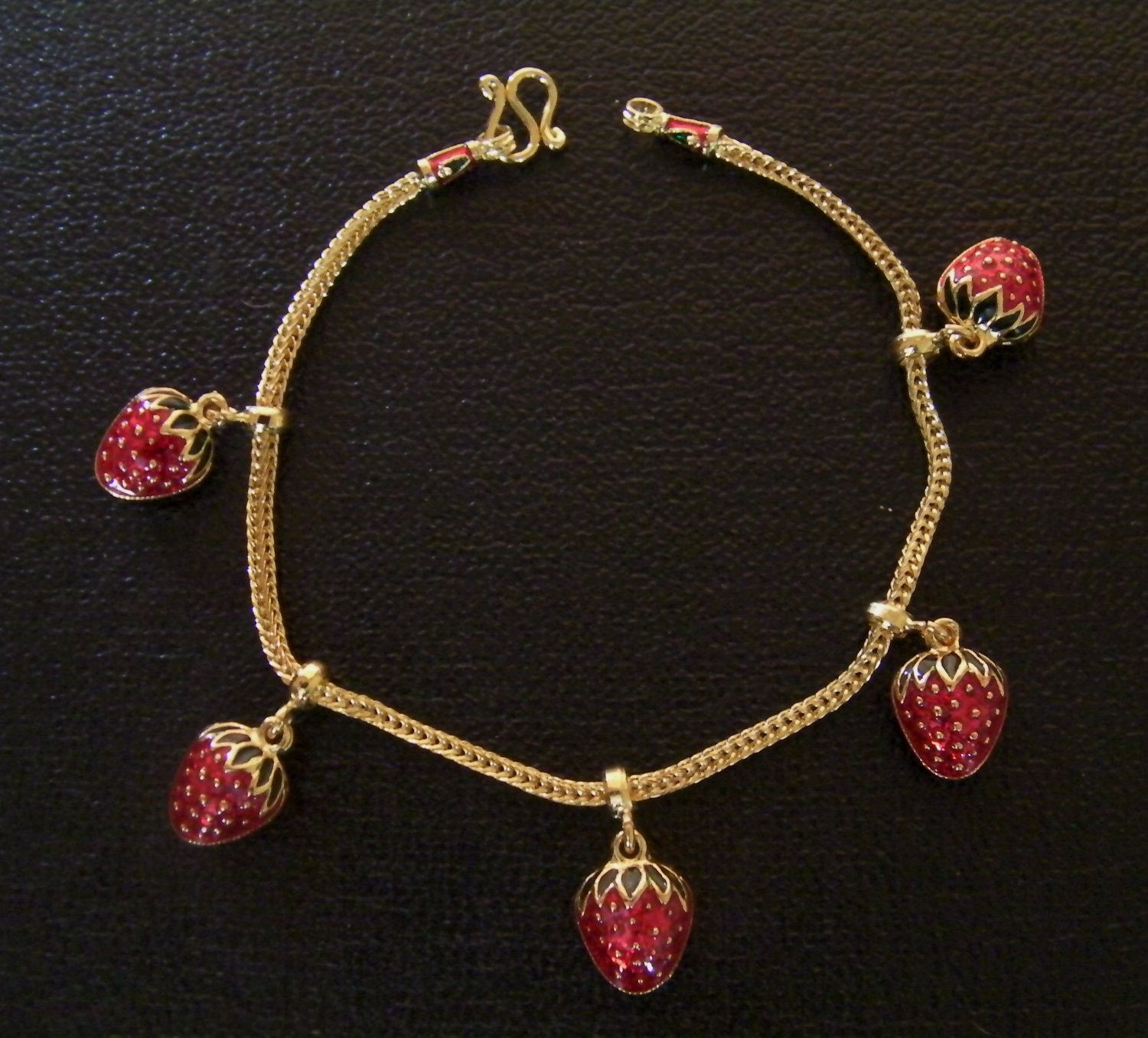 7.1 Inch lovely strawberry 24K gold filled chain bracelet 133