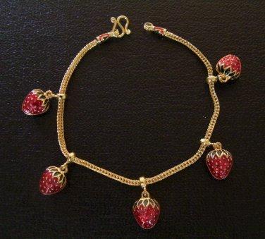 7.1 Inch lovely strawberry 24K gold filled chain bracelet 133