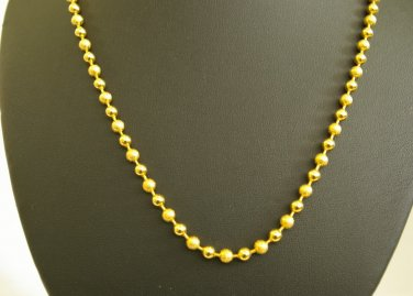 22.8 Inch sand bead & shinny bead fascinated 24K gold filled necklace 74