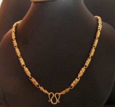 23.2 Inch groove sand rod 100% 24K gold filled necklace 105