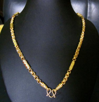 25.2 Inch beautiful sand chain rod  24K gold  filled necklace 88