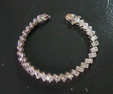 """6.8""""graduated square cz 24K gold filled bracelet 12"""
