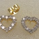 lovely heart shape high quality cz  24K gold filled earrings  020