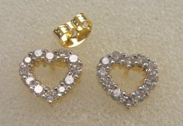 lovely heart shape high quality cz  24K gold filled earrings  020