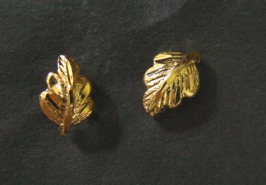 tiny leaf pattern all 24K gold filled earrings
