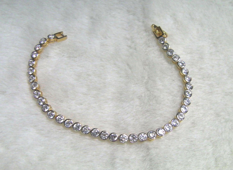 "6.6"" graduated round cz string 24K gold filled bracelet 06"