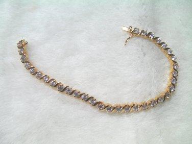 """6.6""""nice charming cz string 24K gold filled bracelet 09"""
