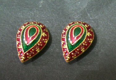 lovely and sweet droplet enamel pattern all 24K gold filled  earrings