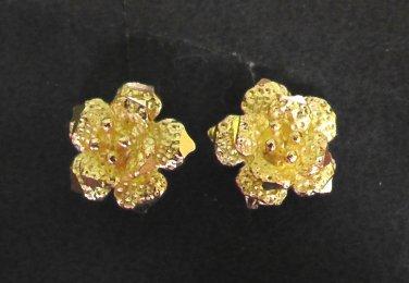 lovely sand flower 24K gold filled earrings tiny  earrings