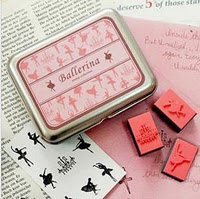 DIY Korean Foam and Rubber Stamp Ballerina 12pcs set in Tin Box
