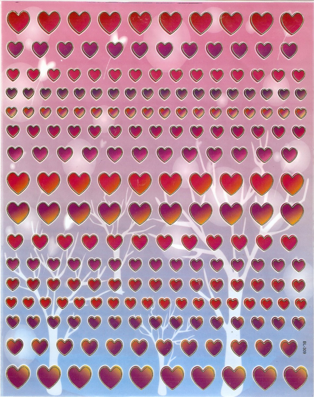 10 Big sheets Heart and Love Stickers Buy 2 lots Bonus 1 lot  #BL309