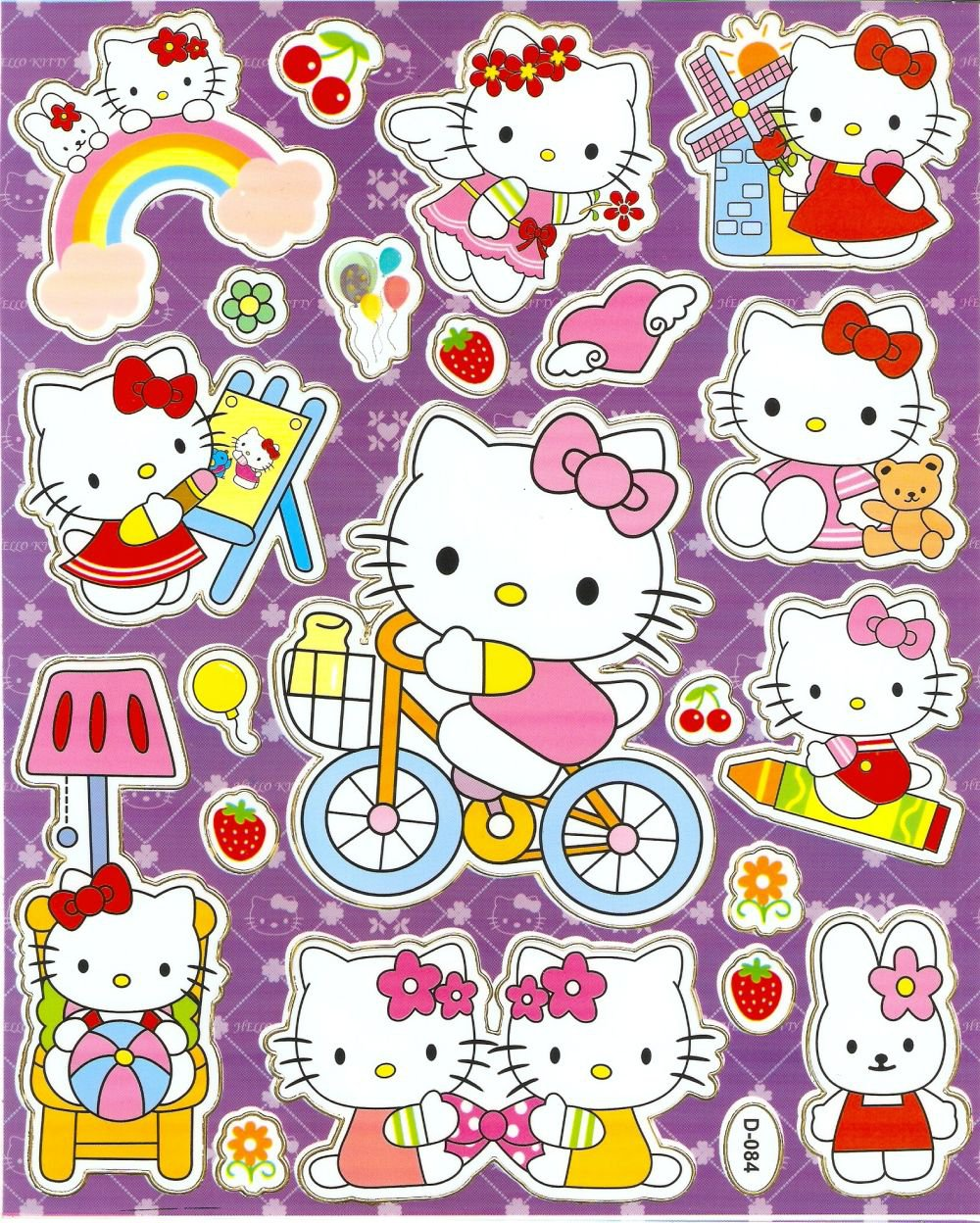 10 Big sheets Hello Kitty Sticker Buy 2 lots Bonus 1 #HK D084