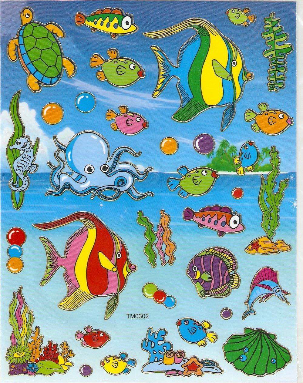 10 Big sheets Fish Sticker Buy 2 lots Bonus 1 #FSH TM0302