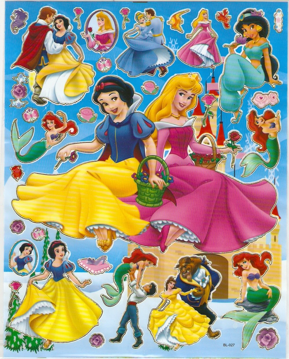 10 Big sheets Princess Sticker Buy 2 lots Bonus 1 #DP BL027