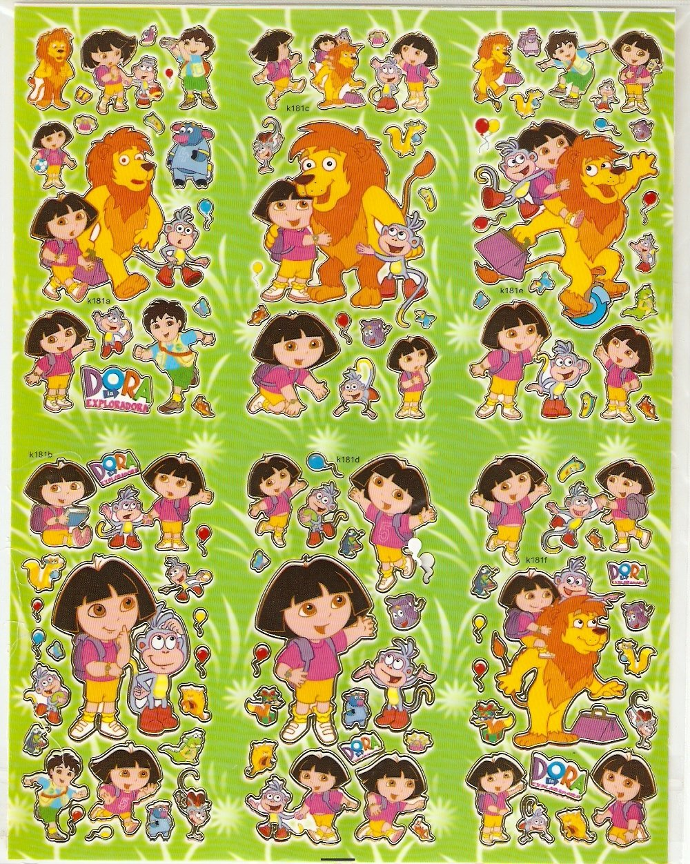 10 Big sheets Dora Sticker Buy 2 lots Bonus 1 #DOR K181