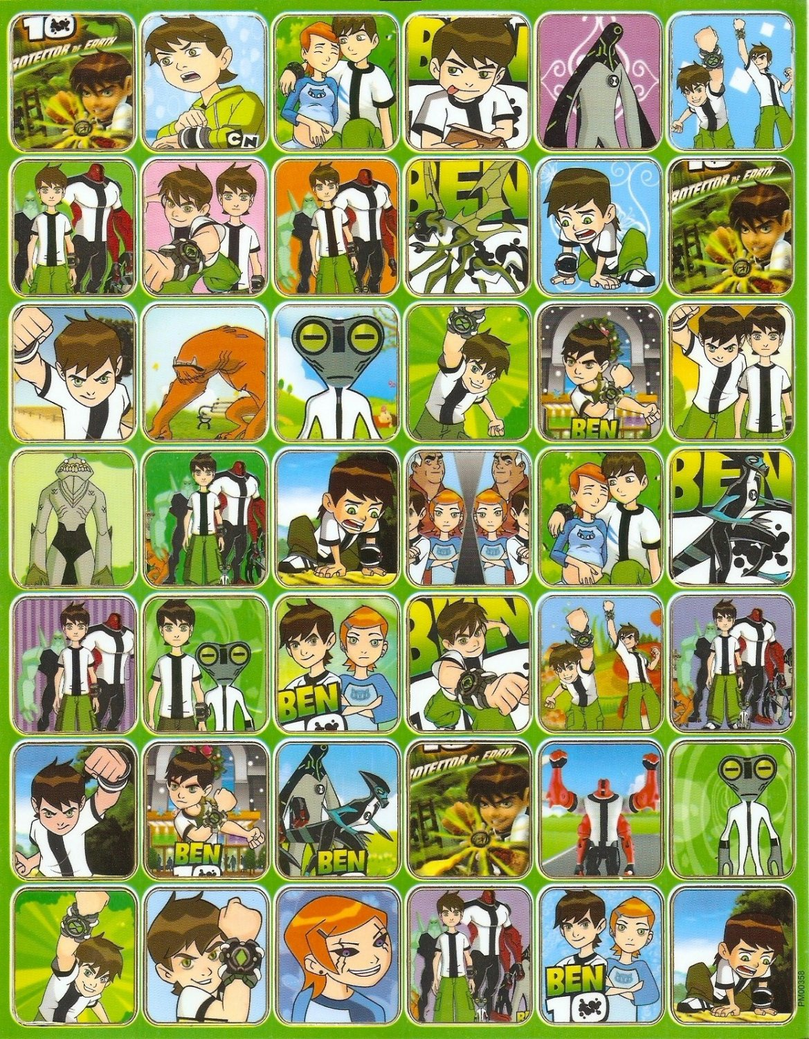 10 Big sheets Ben 10 Sticker Buy 2 lots Bonus 1 #BEN PM00358