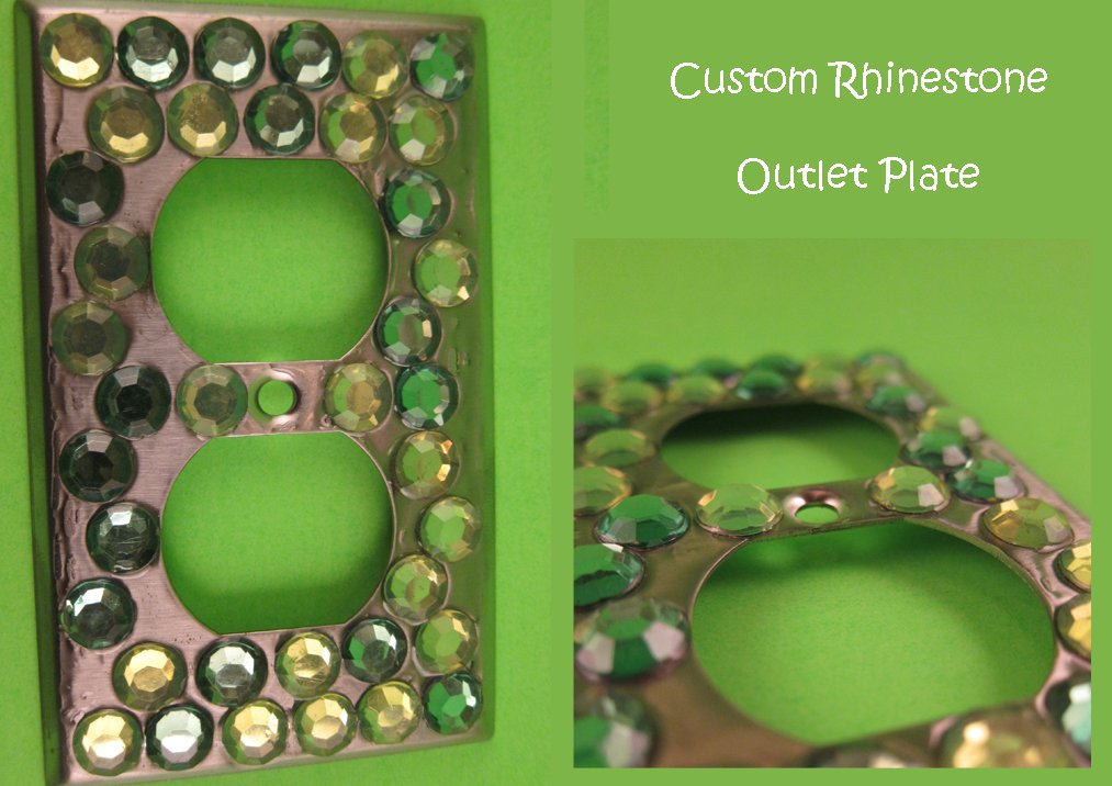 Green Bling Outlet Plate