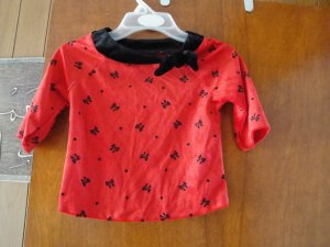 FREE SHIPING RED & BLACK VELVET BLOUSE