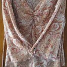FREE SHIPING maron BROWN  V NECK BLOUSE size LARGE
