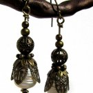mabe freshwater pearls and vintage bronze drop earrings