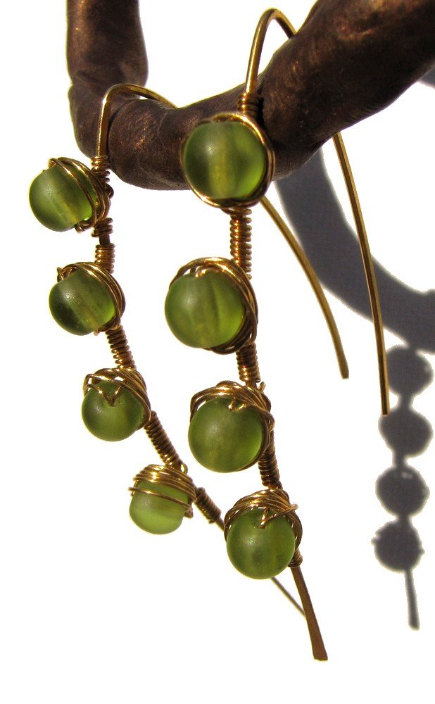 gold fill and wire wrap Blade earrings with olivine glass
