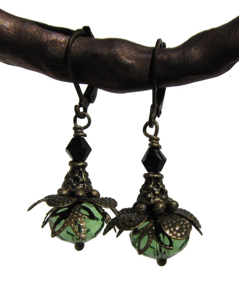 green faceted firepolish leverback vintage look earrings