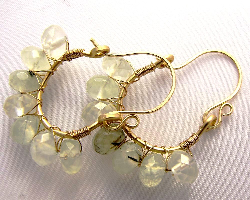 prehnite Cleo hoops gold fill