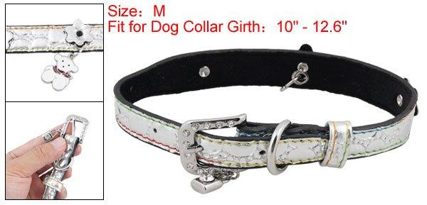 Dog Rhinestone Buckle Silver Tone Faux Leather Collar Belt M