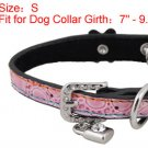 Dog Pet Neck Pink Faux Leather Single Prong Collar Belt S