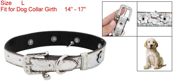 Dog Pet Silver Tone Faux Leather Adjustable Collar Belt Band L