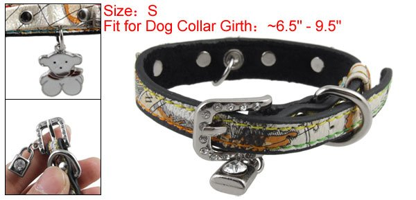S Adjustable Faux Leather Dog Collar Lock Charms Neck Strap