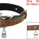 Brown Alligator Print Rhinestone Faux Leather Dog Collar M