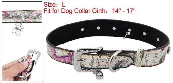 Dog Pet Cartoon Faux Leather Single Prong Buckle Collar Belt L